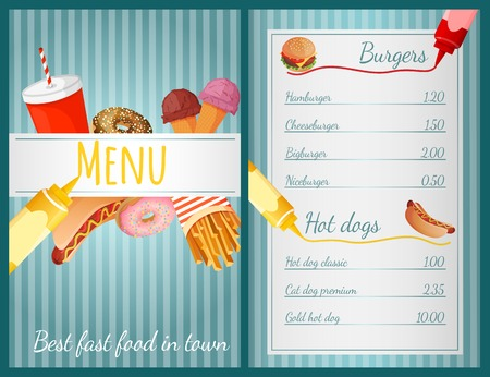 Fast food restaurant menu with burgers and hotdogs vector illustration Vector