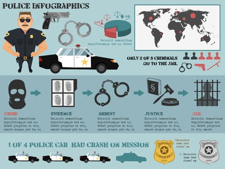 crime: Police infographic set with crime evidence arrest justice jail icons vector illustration Illustration