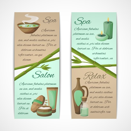 bamboo therapy: Spa salon relax treatment vertical banners set isolated vector illustration Illustration