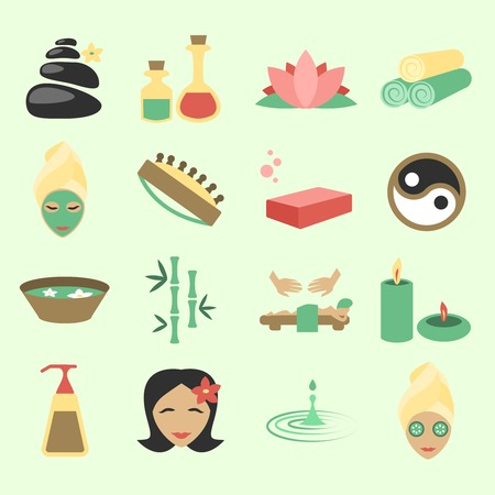 beauty care: Spa salon wellness beauty care products icons set isolated vector illustration