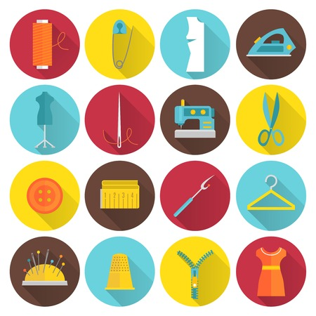 Sewing equipment and tailor needlework accessories icons with thread needle zipper isolated vector illustration Illustration