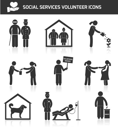 Social help services and volunteer organizations icons set black isolated vector illustration Illustration