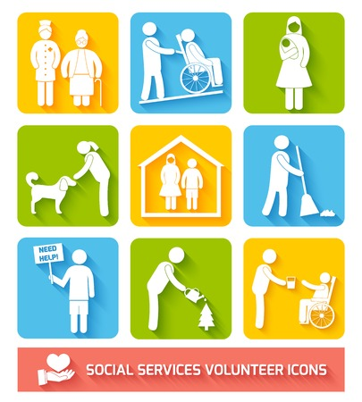 Social help services and volunteer work icons set flat isolated vector illustration Illustration