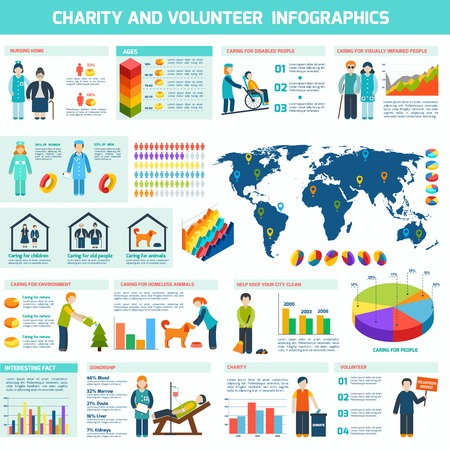 charity collection: Social help services and volunteer work infographic set vector illustration Illustration