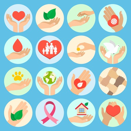 Charity donation social services and volunteer icons set with hands isolated vector illustration
