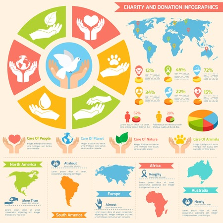 charity collection: Charity donation social services and volunteer infographic set with charts and world map isolated vector illustration Illustration