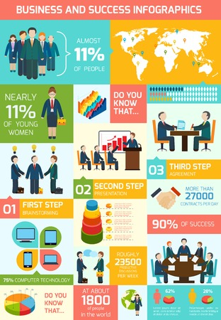 Business meeting teamwork and partnership infographics vector illustration