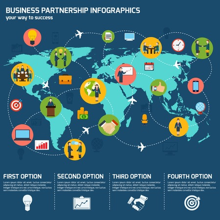 Business meeting partnership infographic set with charts and world map vector illustration Vector