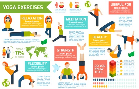 Women silhouettes in yoga poses fitness workout infographic set vector illustration Vector