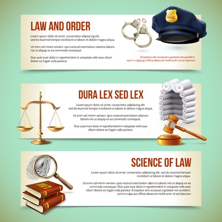 Law and justice police criminal and prosecution horizontal banners vector illustration