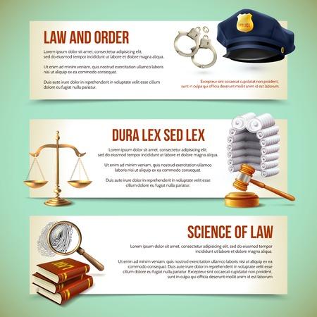 Recht en rechtvaardigheid politie strafrechtelijke en vervolging horizontale banners vector illustratie Stock Illustratie