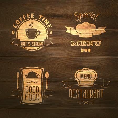 decorative design: Restaurant menu good food emblems on wooden background set isolated vector illustration.