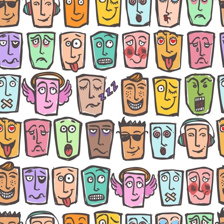 Sketch emoticons man emotions colored seamless pattern vector illustration Vector