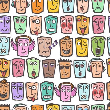 horny: Sketch emoticons man emotions colored seamless pattern vector illustration Illustration