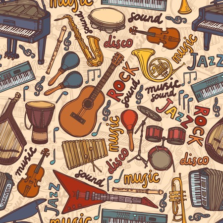 Musical instruments sketch colored seamless pattern vector illustration Vector