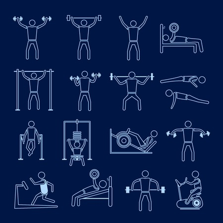 gymnasium: Workout sport and fitness gym training healthy lifestyle icons outline set isolated vector illustration