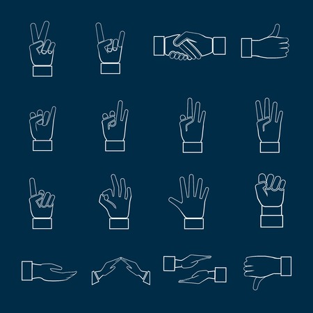 okay sign: Human hands communication signs signals and gestures icons set outline isolated vector illustration Illustration