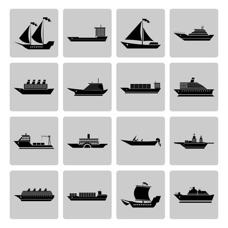 bateau de course: voiliers de croisière et les bateaux de croisière icônes silhouette noir serti isolé illustration vectorielle