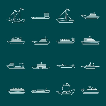 Ship sailing yachts and transportation boats outline silhouette icons set isolated vector illustration Vector