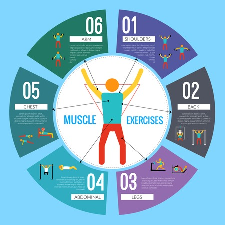 Workout sport and fitness training muscle exercises infographic vector illustration