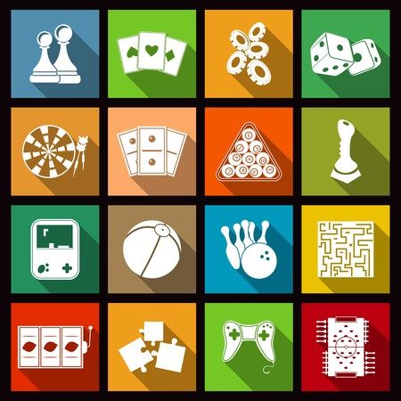 Leisure video sport and gambling casino games icons set flat isolated vector illustration Vector