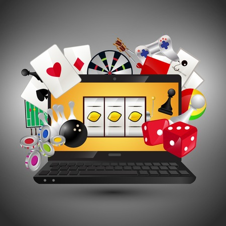 Video gambling games concept with laptop and play icons set vector illustration Vector