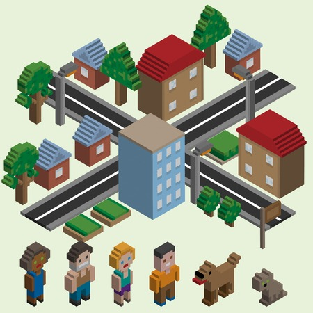 game dog: Video game isometric city with cartoon pixel characters icons set isolated vector illustration
