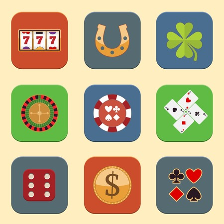 Casino color design elements with gambling poker roulette icons set isolated vector illustration Vector