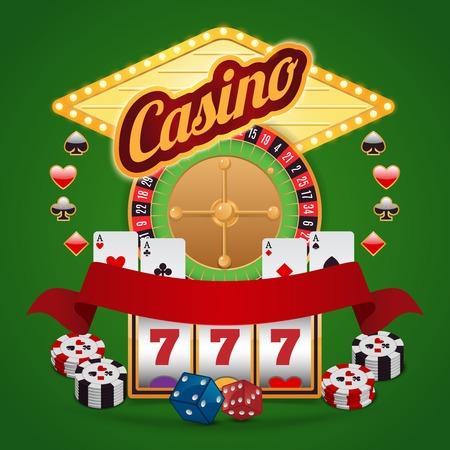 fortune wheel: Casino elements composition set of roulette wheel chips jackpot vector illustration