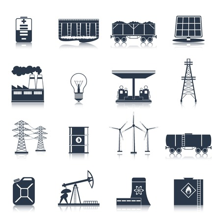 Energy and electric industry icons black set with solar battery factory light bulb isolated vector illustration Illustration