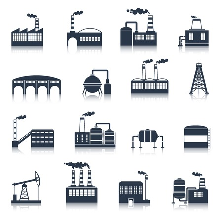 oil tank: Industrial electricity plants building icons black set with smoking pipes isolated vector illustration