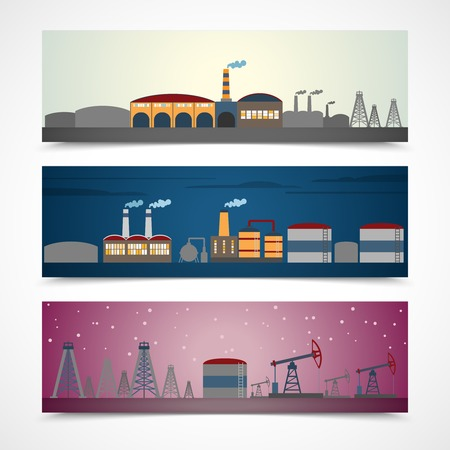 construction plant: Industrial building modern city skyline horizontal banners set isolated vector illustration