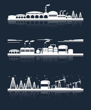 Industrial building city skyline white on black silhouettes horizontal banners set isolated vector illustration Vector