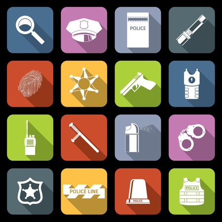 Police crime and justice flat icons set with badge gun cap isolated vector illustration Vector