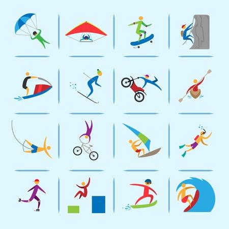 Icone di sport estremi di persone arrampicata immersioni vela isolati illustrazione vettoriale