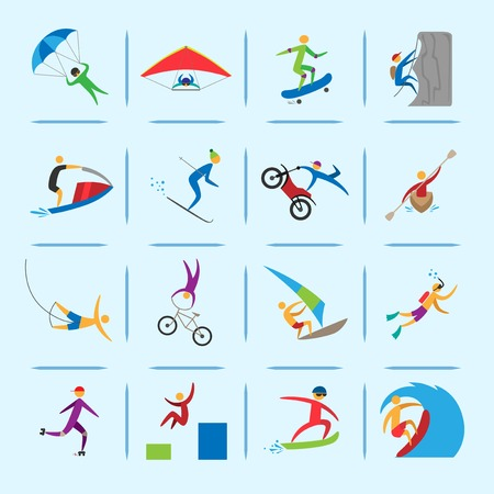 Extreme sports icons of diving climbing sailing people isolated vector illustration Illustration