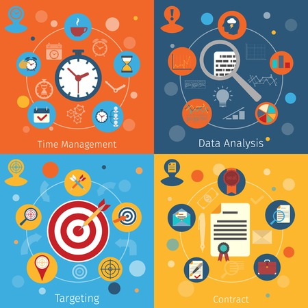 targeting: Modern web concepts flat set with time management data analysis targeting contract isolated vector illustration Illustration