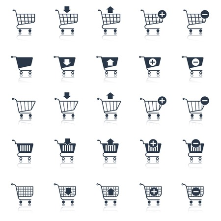 shopping trolley: Shopping cart icons black e-commerce web design elements set isolated vector illustration