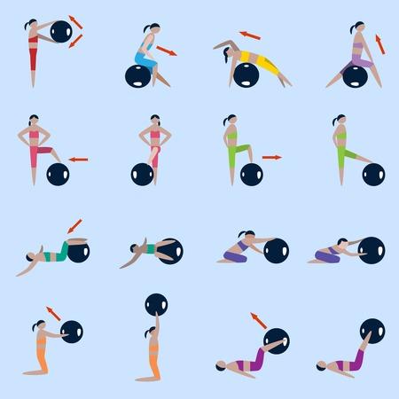 fitness ball: Siluetas de las mujeres con el deporte pelota de fitness ejercicios de conjunto de iconos, ilustraci�n vectorial Vectores
