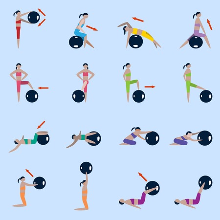 """pilates ball"": Women silhouettes with fitness ball sport exercises icons set isolated vector illustration"