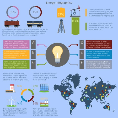 abstract mill: Energy and environment infographics set with charts and world map vector illustration
