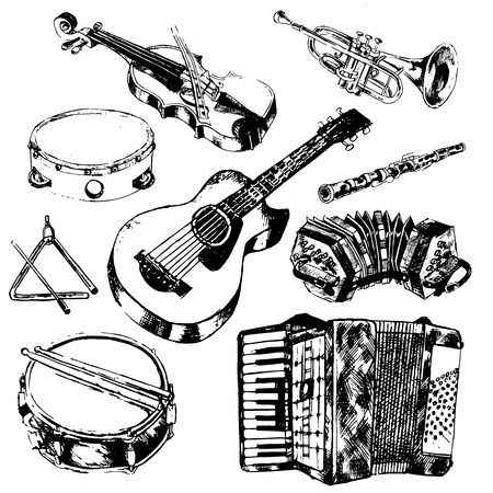 string instrument: Classic musical orchestral instruments hand drawn icons set of guitar violin trumpet flute sketch vector isolated illustration Illustration