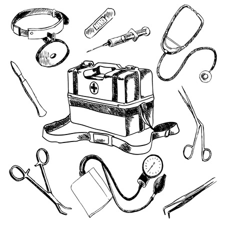 blood pressure: Doctor medical case laboratory accessories sketch icons collection composition with stethoscope syringe plaster doodle isolated vector illustration