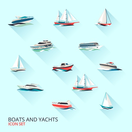 boat motor: Water jet speed motor boats and yacht navigation sport template flat shadow pictograms set vector isolated illustration Illustration