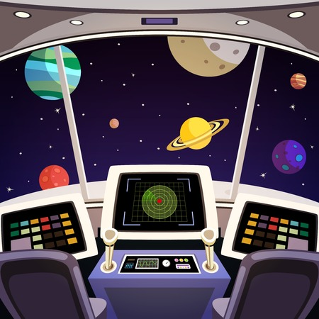 Flying spaceship cabin futuristic interior cartoon with space backdrop vector illustration Çizim