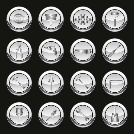 mat�riel chantier: M�tallique des outils et des ic�nes d'�quipement de construction de travail mis en isol� illustration vectorielle Illustration