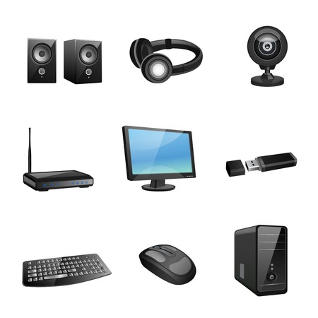 Computer accessories and peripheral black icons set isolated vector illustration Illustration