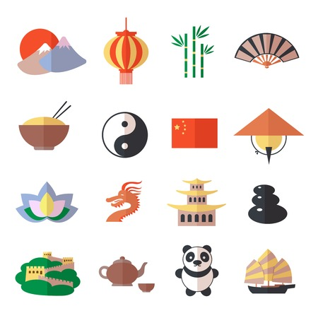 great wall of china: China travel asian traditional culture symbols icons set isolated vector illustration