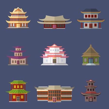 muralla china: Casa china templos antiguos edificios orientales iconos conjunto aislado ilustraci�n vectorial
