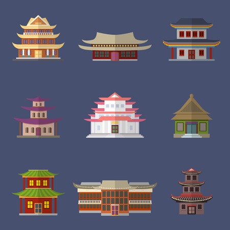 china wall: Chinese house ancient temples oriental buildings icons set isolated vector illustration